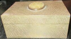 Rare Old Chinese Carved White Jade Metal Hammered Design Bronze Humidor Box