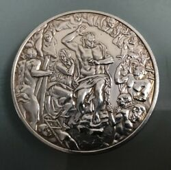 Biblical Solid Silver Plaque Reads 'the Last Judgement 1534-1541' Weight 65.5g