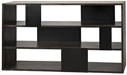 60 L Modern Bookcase Ebony Finished Solid Walnut Wood With Metal Accents