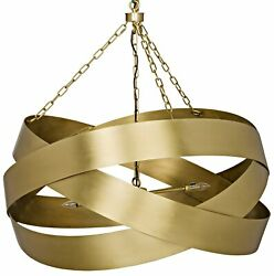 38 W Pendant Antique Brass Metal Ribbons Modern Contemporary