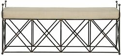 61 L Marshall Bench Industrial Metal With X Detail Base Linen Cushion