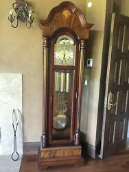 Sligh Grandfather Clock Mahogany And Inlaid Early 1990 Works Great