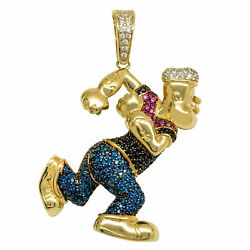 1 3/4 Popeye The Sailor Cz Pendant Real Solid 10k Yellow Gold