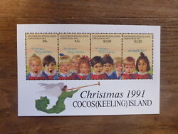 1991 Cocos Island 4 Stamp Mini Sheet Christmas Mint Stamps