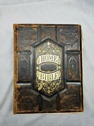 1878 Pictoral Home Bible Genuine Antique Vintage With Thick Leather Cover