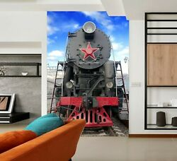 3d Steam Car T230 Transport Wallpaper Mural Self-adhesive Removable Sunday