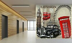 3d Antique Black T332 Transport Wallpaper Mural Self-adhesive Removable Sunday