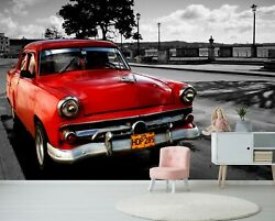 3d Cuba Red Car T077 Transport Wallpaper Mural Self-adhesive Removable Sunday