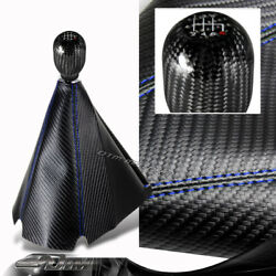 Jdm Carbon Style Blue Stitch Manual Shift Boot + T-r 6-speed Carbon Shifter Knob
