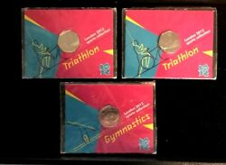 London 2012 Set Of 3 Olympics Sports Collection Coins Mounted In Card M2