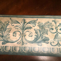 Norwall Wallpaper Border Green w Cream Print Prepasted 6.75quot; Wide 5 Yards Long