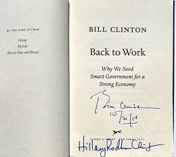 Bill And Hillary Clinton Signed Back To Work Book President Beckett Bas President
