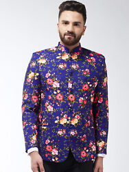 Floral Printed Cotton Formal Jacket Button Front Party Wear Men Waistcoat Xs-5xl