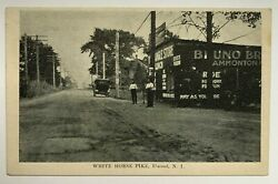 Nj Postcard Elwood New Jersey White Horse Pike Store Early Car Signs Hammonton
