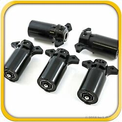 5 Trailer End 7 Way Round Rv Style Light Plug Connectors- Free Shipping New