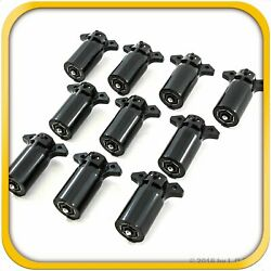 10 Trailer End 7 Way Round Rv Style Light Plug Connectors- Free Shipping New