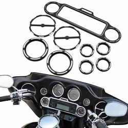 9pcs Burst Speedometer Gauge Bezels Ring Kit For Harley Electra Glide Flht 96-13