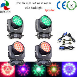 4pcs 19x15w Rgbw Led Wash Zoom Beam 4in1 Moving Head Light With Backlight