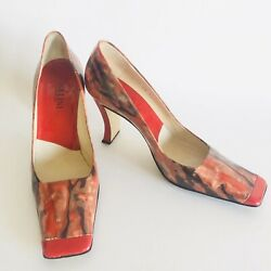 Pollini Sculpted Patent Leather Shoes Square Toes Red With Abstract Design Sz 38