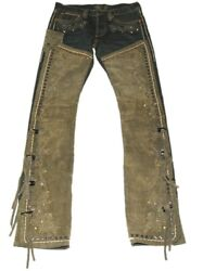 1795 Polo Rrl Western Denim Suede Leather Floral Stud Jeans 27/34