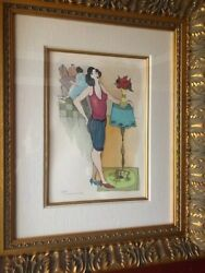 Itzchak Tarkay Mixed Media With Watercolor Roses Signed / Unique Work