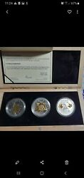 2010 Canada Olympics, 3 Coin Silver, Reverse Proofs, Gilded Gold. 4000 Mintage.
