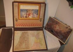 Old 1896 Bible Study Panorama Life Of Christ Wind Rolling Scroll Theater W/ Maps