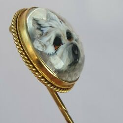 Victorian Gold Reverse Intaglio Crystal Stick Pin Antique West Highland Terrier