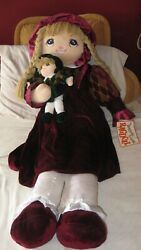 New Vintage C.1985 Large 42 Raggedy Anne Doll With Baby Free Shipping