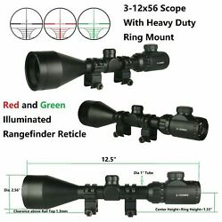 Hot 3-12x56 Scope Red And Green Illuminated Rangefinder With Heavy Duty Ring Mou