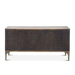 66 L Sideboard Solid Mango Wood With Reclaimed Iron Modern Two Tone