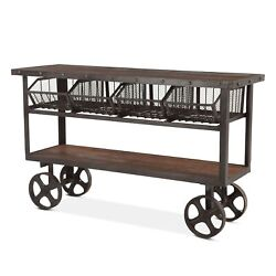 60.5 L Industrial Utility Cart Reclaimed Solid Teak Wood With Recycle Iron