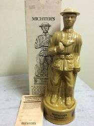 Michters Whiskey Pa American Legion World War I Doughboy Decanter 1979 With Box