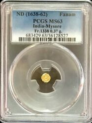 1638 -62 Gold India Fanam Mysore Dynasty Kanthirava Coin Pcgs Mint State 63