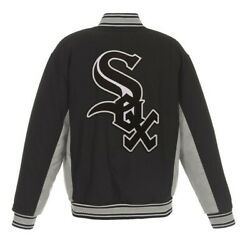 Mlb Chicago White Sox Jh Design Reversible Wool Poly Twill Jacket Bnwt Blk Gray