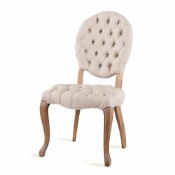 21 W Set Of 2 Round Back Dining Chair Button Tufted Linen Wood Legs Modern