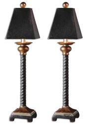 Bellcord English Barley Twist Style Buffet Table Lamps Set Of 2 Uttermost 29007