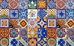 40 Assorted 6x6 Mexican Ceramic Tiles Talavera Handmade Hand Painted Tile 007
