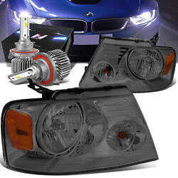 Smoked/amber Oe Replacement Headlight+slim Hid Kit For 04-08 Ford F150/mark Lt