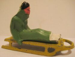 2 Elegant Antique Toys - Lady On A Sled Barclay 1930s