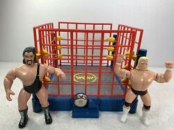 Osftm Thunder Wcw Wrestling Ring Figures W Steel Cage 2 Figures W Ropes