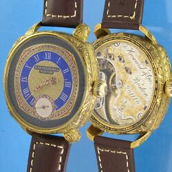 E.howard Large Vintage Custom Wristwatch Hand Engraved Movement Case And Dial