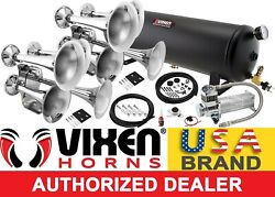 Train Horn Kit For Truck/car/pickup Loud System /4g Air Tank /200psi /8 Trumpets