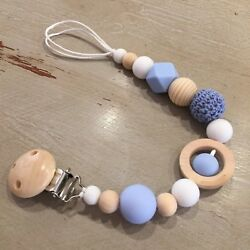 Pacifier Clip, Holder Sensory Teething, Natural Wood And Bpa Free Soft Silicone