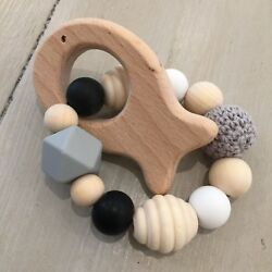 Natural Untreated Wood, Maple/beech, Bpa Free Silicone, Sensory Animal Teether