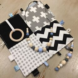 Baby Gift Set Natural Wood And Silicone Bold Monochrome And Blueteething Tactile
