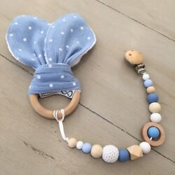 Pacifier Clip, Bunny Ear Sensory Teething, Natural Wood And Bpa Free Soft Silicone