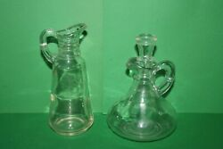 2 Vintage Clear Glass Vinegar Bottles And One Glass Stopper