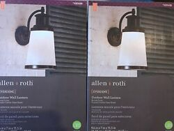 2-allen + Roth Outdoor Wall Lantern Everdene Bronze Frosted Crackle Glass Shade