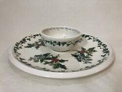 Portmeirion The Holly And The Ivy Chip And Dip Tray Serving, 13 1/2 Dia Tray